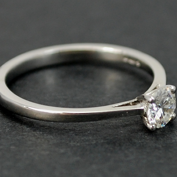 Platinum Brilliant Cut 0.38 Carat Diamond Ring in Modern Jewellery from Coopers Jewellery, North Devon