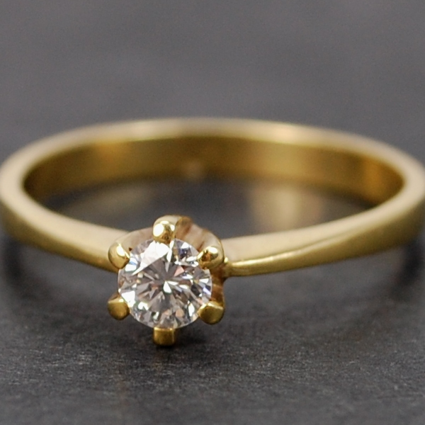 18ct Yellow Gold Single Stone Brilliant Cut 0.24 Carat Diamond Ring in Modern Jewellery from Coopers Jewellery, North Devon