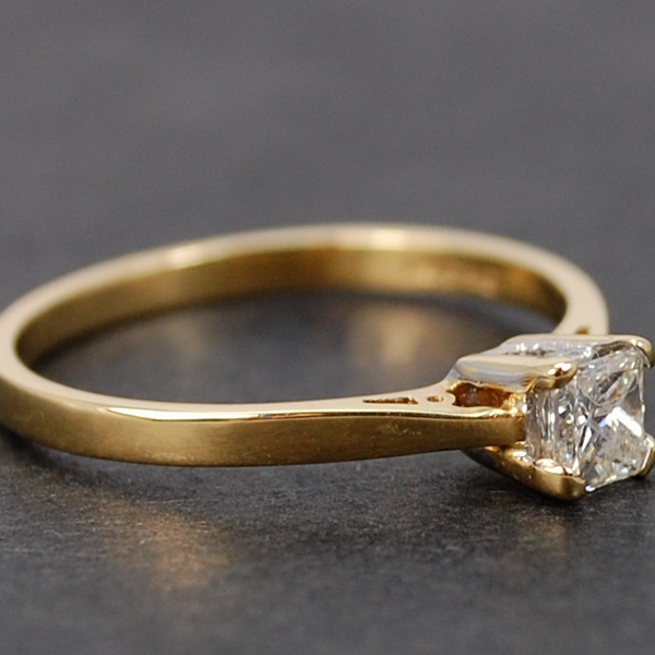 18ct Yellow Gold Single Stone Princess Cut 0.33 Carat Diamond Ring in Modern Jewellery from Coopers Jewellery, North Devon