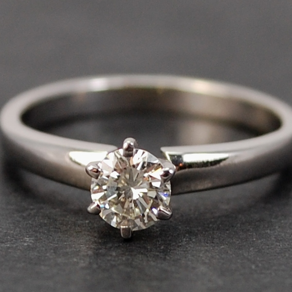 18ct White Gold Brilliant Cut Single Stone 0.35 Carat Diamond Ring in Modern Jewellery from Coopers Jewellery, North Devon
