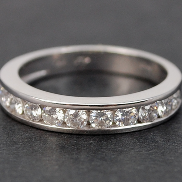 18ct White Gold Brilliant Cut 12 Stone Half Eternity Diamond Ring in Modern Jewellery from Coopers Jewellery, North Devon