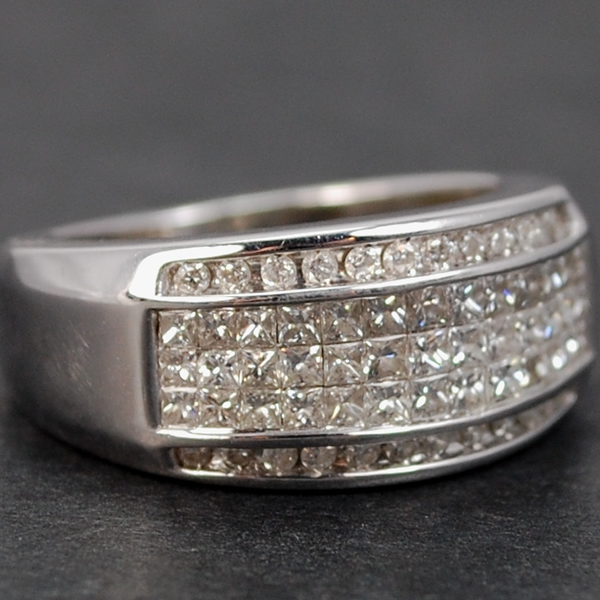 18ct White Gold 1.50 Carat Diamond Band Ring in Modern Jewellery from Coopers Jewellery, North Devon