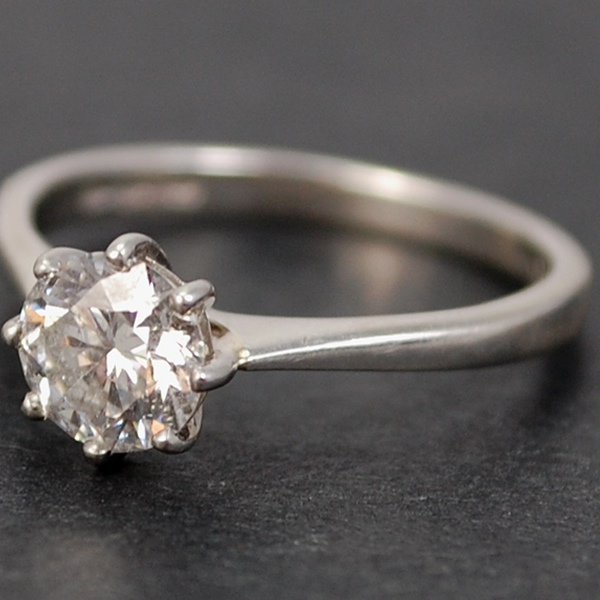 Platinum 1 Carat Single Stone Diamond Ring in Vintage Jewellery from Coopers Jewellery, North Devon