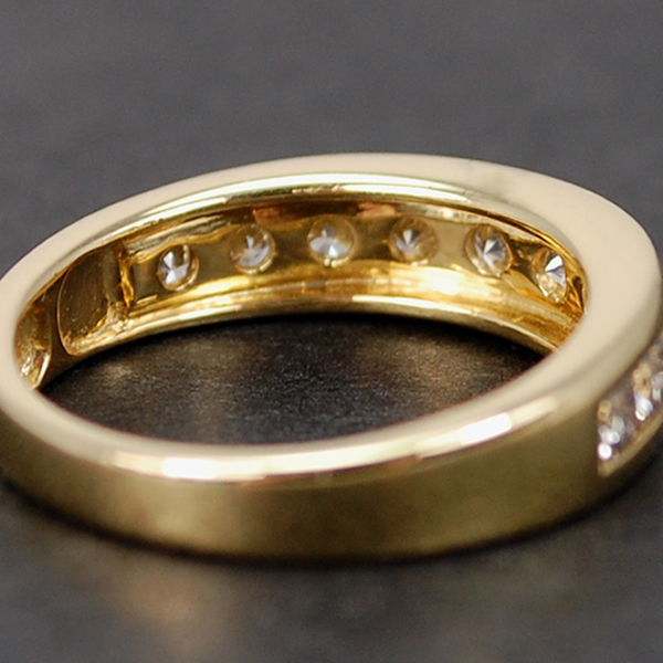18ct Yellow Gold 9 Stone Brilliant Cut Half Eternity Diamond Ring in Modern Jewellery from Coopers Jewellery, North Devon