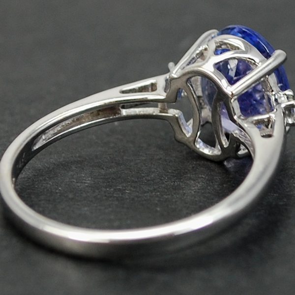 14ct White Gold Tanzanite and Diamond Ring in Modern Jewellery from Coopers Jewellery, North Devon
