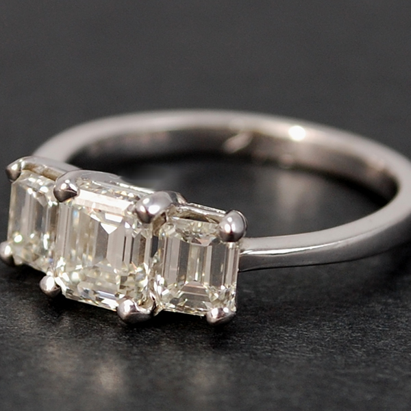 18ct White Gold Emerald Cut 3 Stone 2.15 Carat Diamond Ring in Modern Jewellery from Coopers Jewellery, North Devon