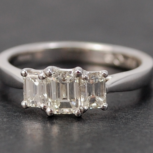 18ct White Gold 3 Stone Emerald Cut Diamond Ring in Modern Jewellery from Coopers Jewellery, North Devon