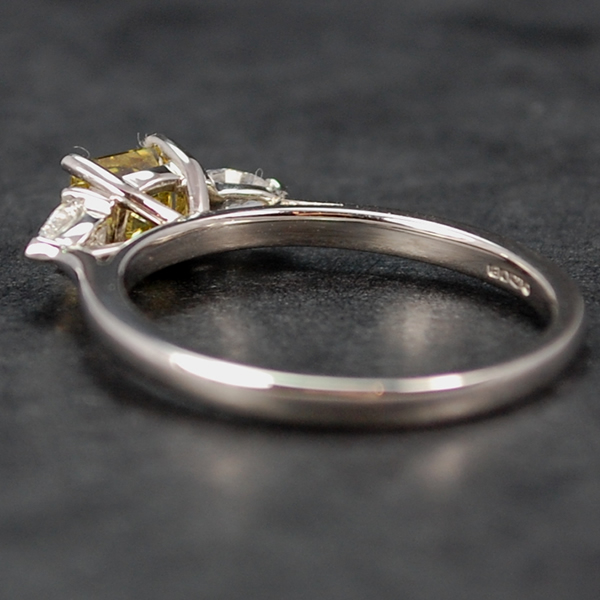 Platinum Princess Cut Fancy Yellow Diamond 3 Stone Ring in Modern Jewellery from Coopers Jewellery, North Devon