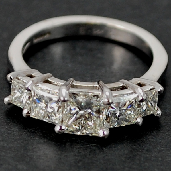 18ct White Gold Princess Cut 5 Stone Diamond Ring in Modern Jewellery from Coopers Jewellery, North Devon