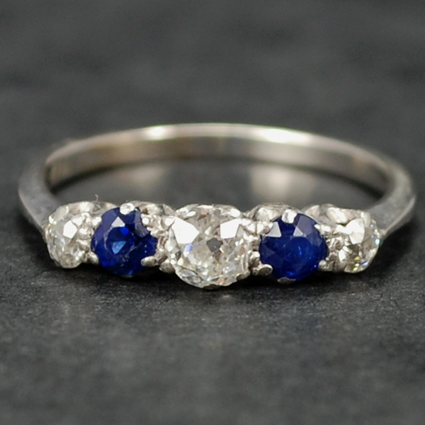 Platinum 1920's Sapphire and Diamond 5 Stone Ring in Antique Jewellery from Coopers Jewellery, North Devon