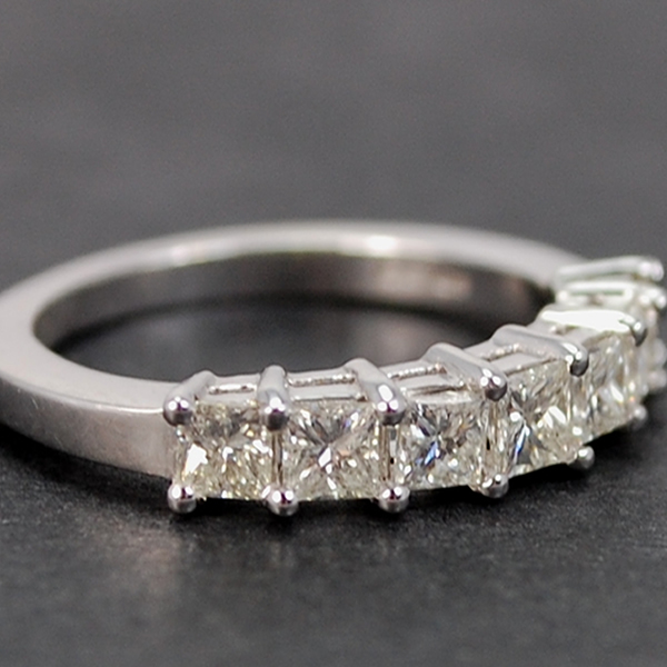 18ct White Gold 7 Stone Princess Cut 1 Carat Half Eternity Diamond Ring in Modern Jewellery from Coopers Jewellery, North Devon