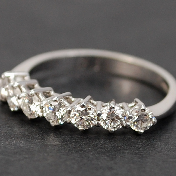 18ct White Gold Brilliant Cut 7 Stone Half Eternity Diamond Ring in Modern Jewellery from Coopers Jewellery, North Devon