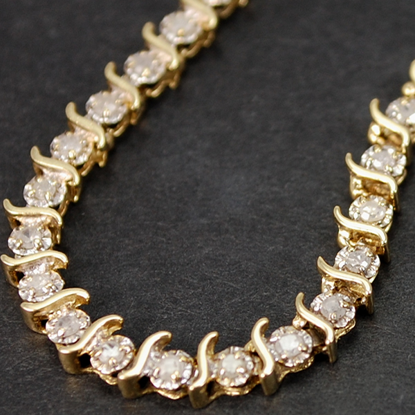 9ct Yellow Gold 1 Carat Diamond Bracelet in Modern Jewellery from Coopers Jewellery, North Devon