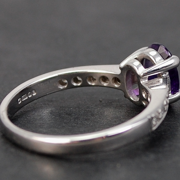 18ct White Gold Amethyst and Diamond Ring in Modern Jewellery from Coopers Jewellery, North Devon