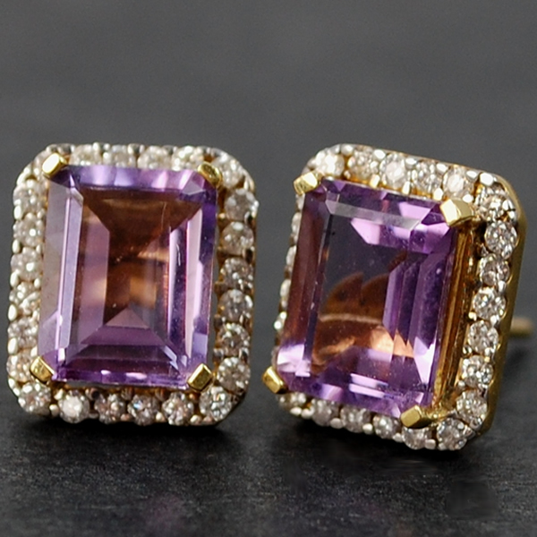 18ct Yellow Gold Amethyst and Diamond Stud Earrings in Modern Jewellery from Coopers Jewellery, North Devon