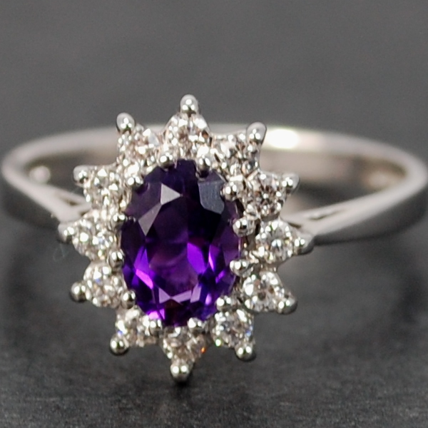 18ct White Gold Amethyst and Diamond Oval Cluster Ring in Modern Jewellery from Coopers Jewellery, North Devon