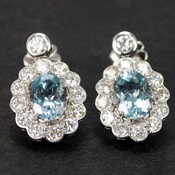 18ct White Gold Aquamarine and Diamond Cluster Earrings in Modern Jewellery from Coopers Jewellery, North Devon