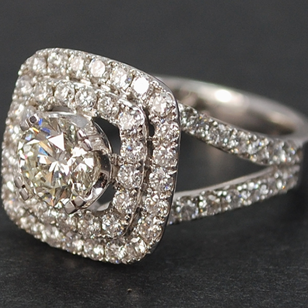18ct White Gold Diamond Halo Cluster Ring in Modern Jewellery from Coopers Jewellery, North Devon