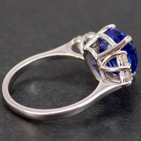 18ct White Gold Tanzanite and Diamond Ring in Modern Jewellery from Coopers Jewellery, North Devon