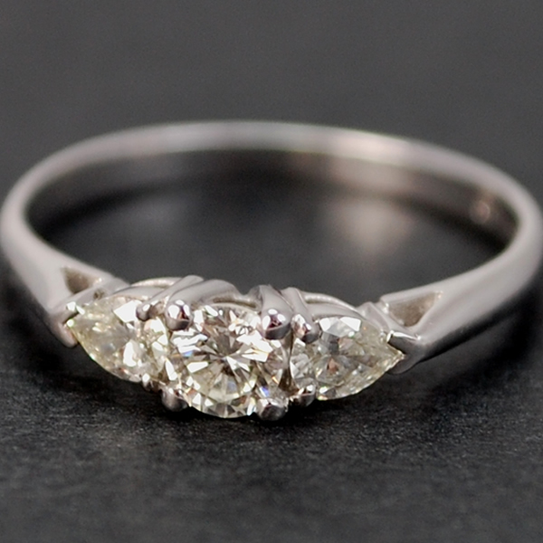 18ct White Gold Brilliant Cut and Pear Shape 3 Stone Diamond Ring in Modern Jewellery from Coopers Jewellery, North Devon