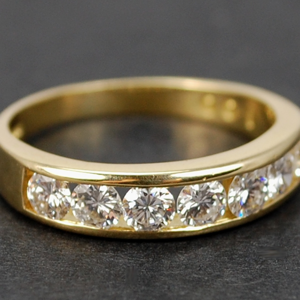 18ct Yellow Gold Brilliant Cut Half Eternity Diamond Ring  in Modern Jewellery from Coopers Jewellery, North Devon