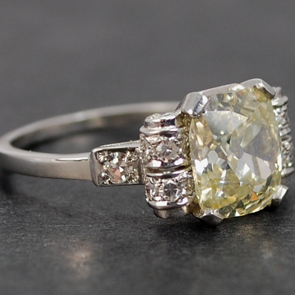 Platinum Fancy Champagne 2.23 Carat Diamond Ring in Antique Jewellery from Coopers Jewellery, North Devon