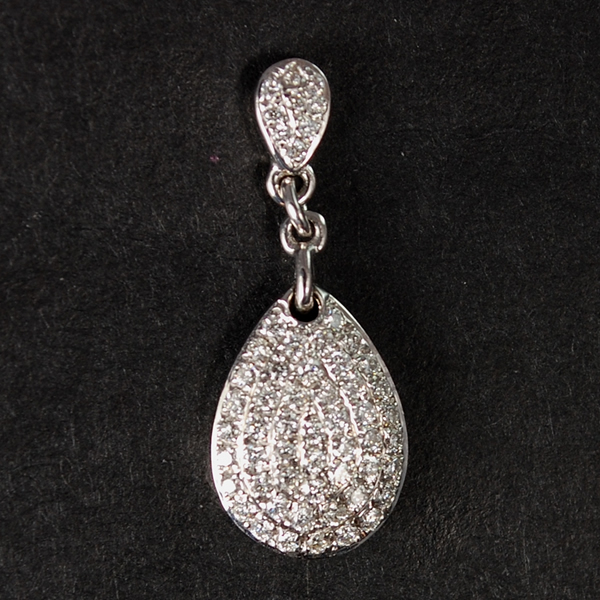 18ct White Gold Pave Set Diamond Drop Earrings in Modern Jewellery from Coopers Jewellery, North Devon