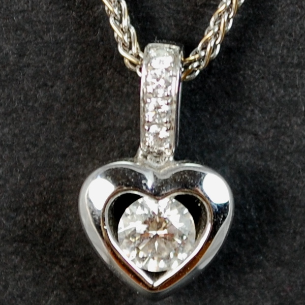 18ct White Gold Diamond Heart Pendant  in Modern Jewellery from Coopers Jewellery, North Devon