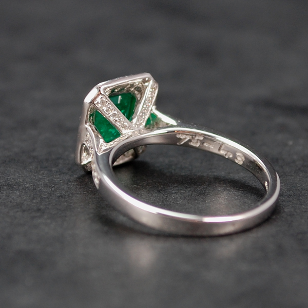18ct White Gold Emerald and Diamond Cluster Ring in Modern Jewellery from Coopers Jewellery, North Devon