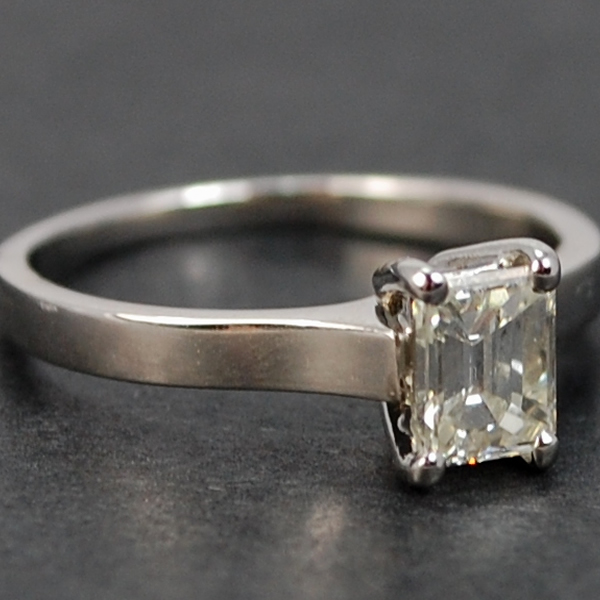 Platinum Emerald Cut Solitaire 0.75 Carat Diamond Ring  in Modern Jewellery from Coopers Jewellery, North Devon