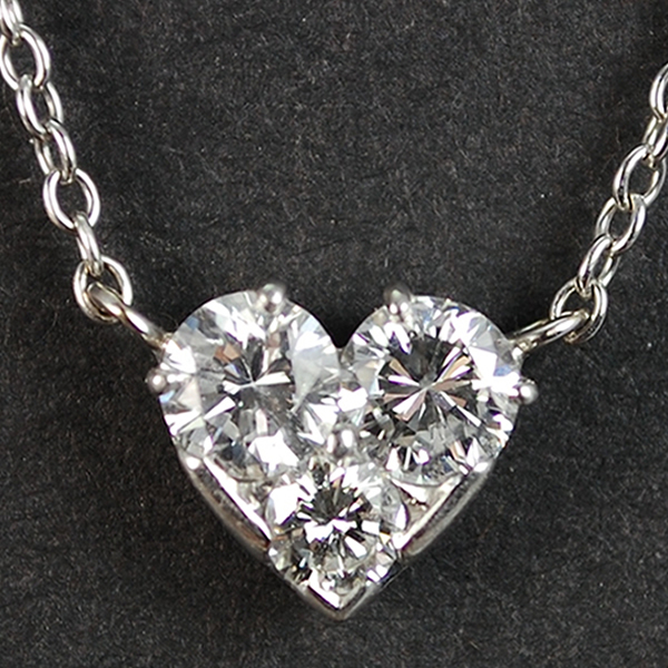 French Deco Platinum Diamond Heart Pendant in Vintage Jewellery from Coopers Jewellery, North Devon