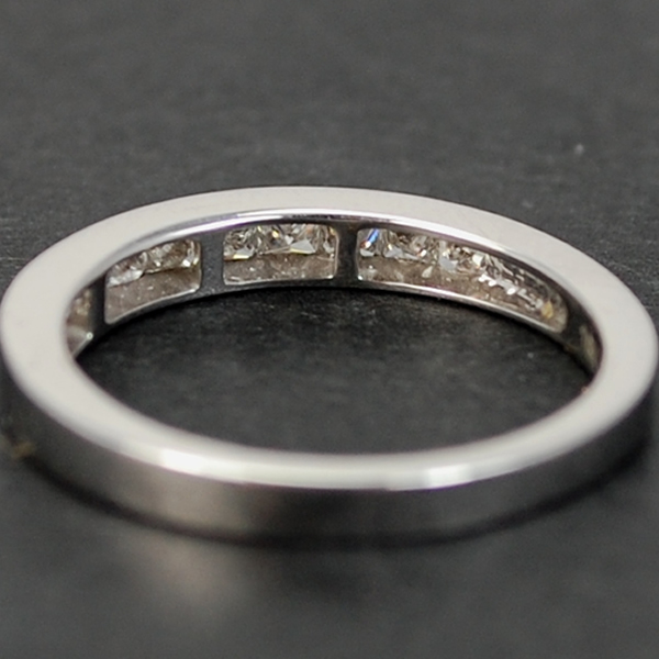 18ct White Gold Princess Cut Half Eternity Diamond Ring in Modern Jewellery from Coopers Jewellery, North Devon