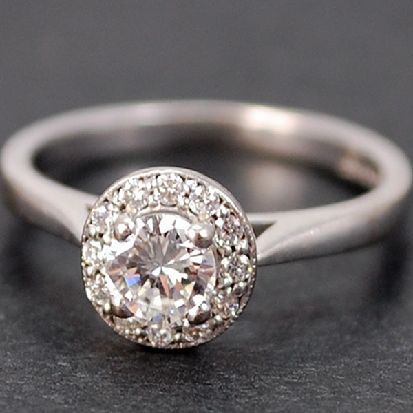 18ct White Gold Halo Cluster Diamond Ring in Modern Jewellery from Coopers Jewellery, North Devon
