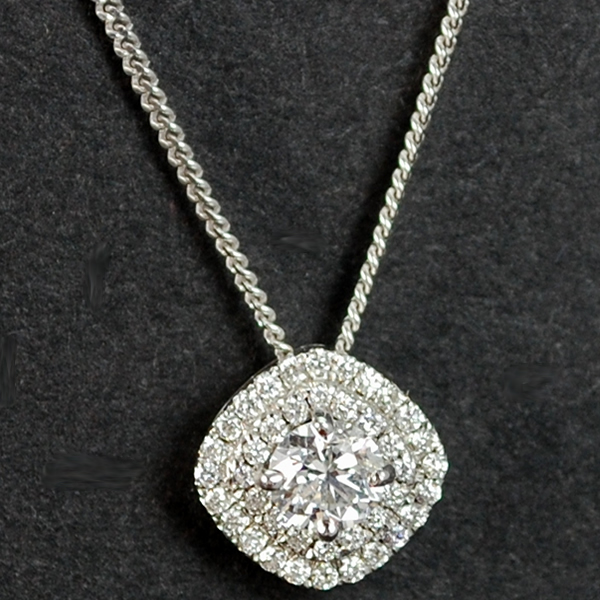 18ct White Gold Halo Diamond Pendant in Modern Jewellery from Coopers Jewellery, North Devon