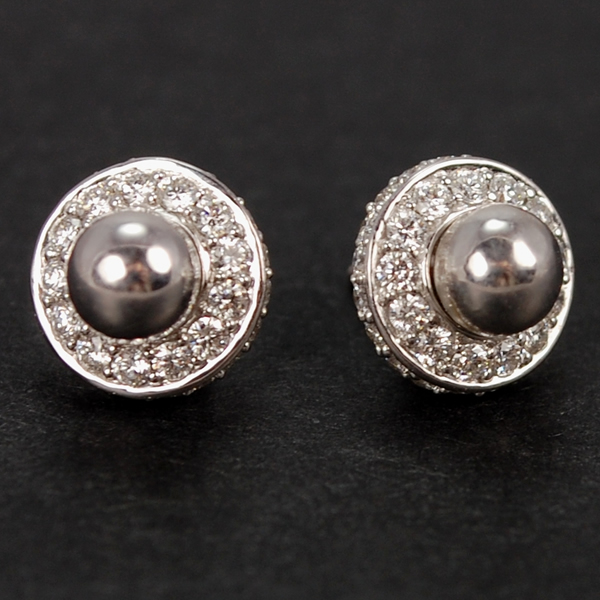 18ct White Gold Diamond and Ball Stud Earrings in Modern Jewellery from Coopers Jewellery, North Devon