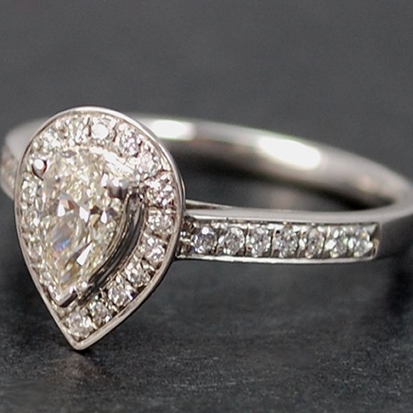 18ct White Gold Pear Shape 0.72 Carat Diamond Ring in Modern Jewellery from Coopers Jewellery, North Devon