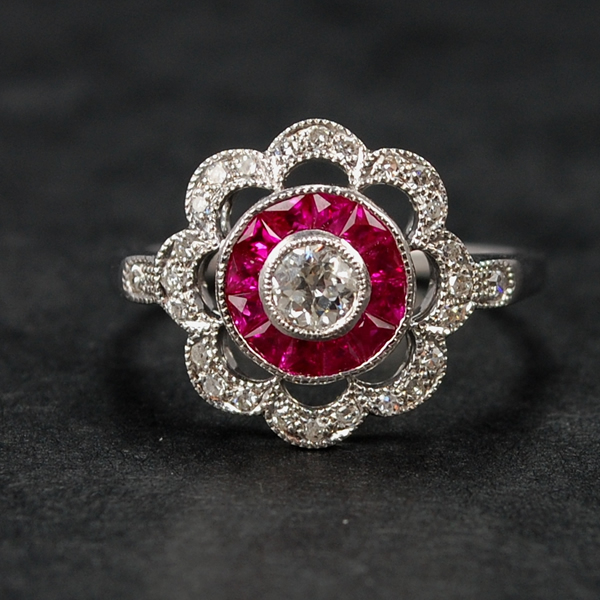 18ct White Gold Ruby and Diamond Flower Cluster Ring in Modern Jewellery from Coopers Jewellery, North Devon