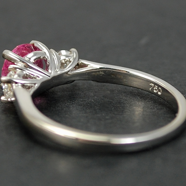 18ct White Gold 3 Stone Pink Sapphire and Diamond Ring in Modern Jewellery from Coopers Jewellery, North Devon