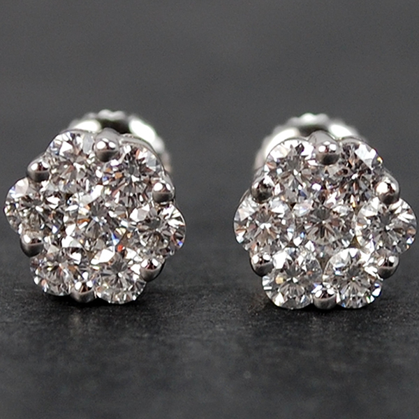 Platinum Diamond Cluster Stud Earrings  in Modern Jewellery from Coopers Jewellery, North Devon