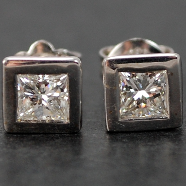 18ct White Gold Princess Cut Diamond Stud Earrings in Modern Jewellery from Coopers Jewellery, North Devon