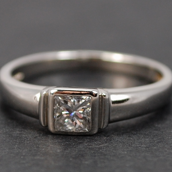 Platinum Princess Cut Single Stone Diamond Ring  in Modern Jewellery from Coopers Jewellery, North Devon