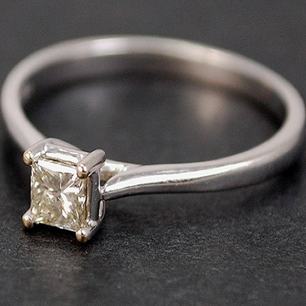18ct White Gold Princess Cut 0.33 Carat Diamond Ring in Modern Jewellery from Coopers Jewellery, North Devon