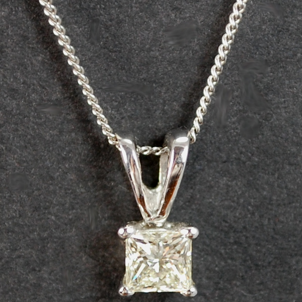 18ct White Gold Princess Cut 0.54 Carat Diamond Pendant in Modern Jewellery from Coopers Jewellery, North Devon