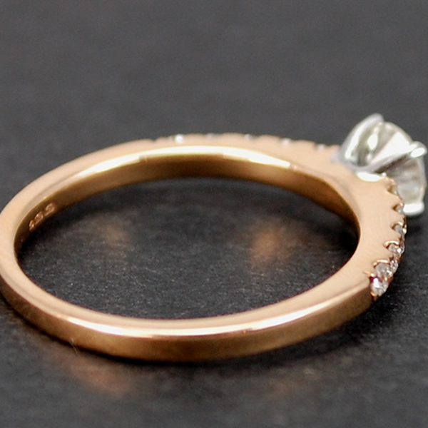 18ct Rose Gold Brilliant Cut 0.58 Carat Diamond Ring in Modern Jewellery from Coopers Jewellery, North Devon