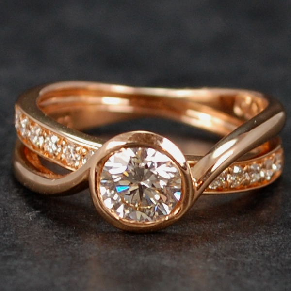 18ct Rose Gold Rub Over Set 0.70 Carat Diamond Ring in Modern Jewellery from Coopers Jewellery, North Devon