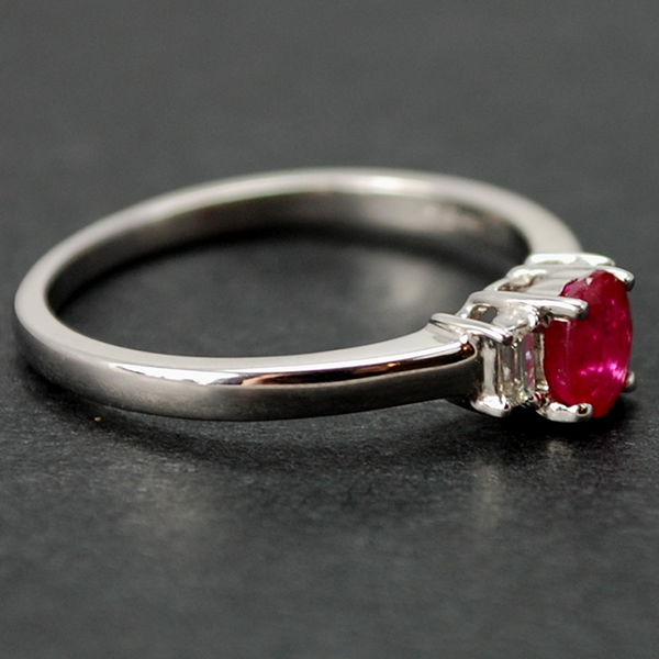 18ct White Gold Ruby and Diamond 3 Stone Ring in Modern Jewellery from Coopers Jewellery, North Devon