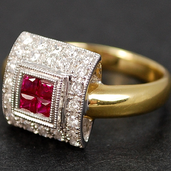 18ct Yellow Gold Ruby and Diamond Square Cluster Ring in Modern Jewellery from Coopers Jewellery, North Devon