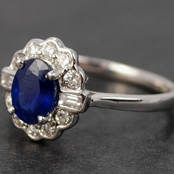 18ct White Gold Sapphire and Diamond Cluster Ring  in Modern Jewellery from Coopers Jewellery, North Devon