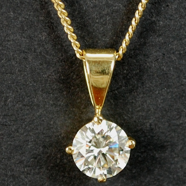 18ct Yellow Gold Brilliant Cut 0.90 Carat Diamond Pendant in Modern Jewellery from Coopers Jewellery, North Devon