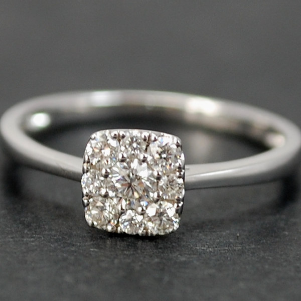 18ct White Gold Square Cluster Diamond Ring in Modern Jewellery from Coopers Jewellery, North Devon